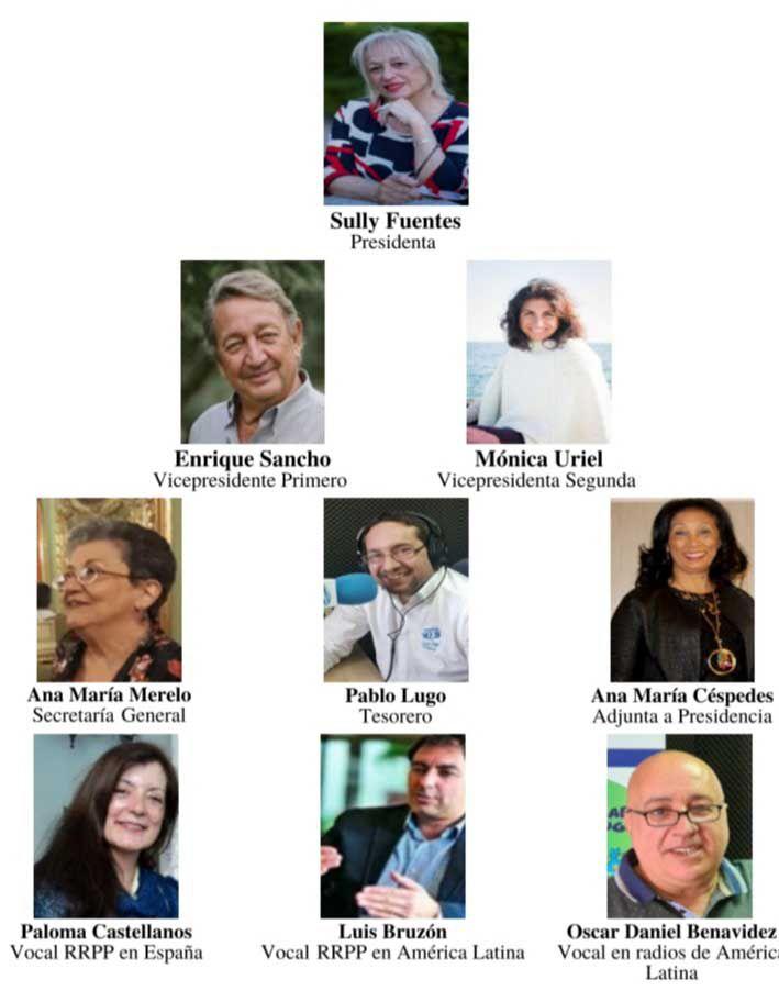 Parte de la Junta Directiva 2018 2020. Cleane Pereira, Ana Lucía Ortega, Sully Fuentes, Vicente López, María Rosa Jordán y Enrique Sancho