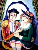 Pintura de Ruslán Galasov sobre campesinas rusas en el Restaurante Stroganov