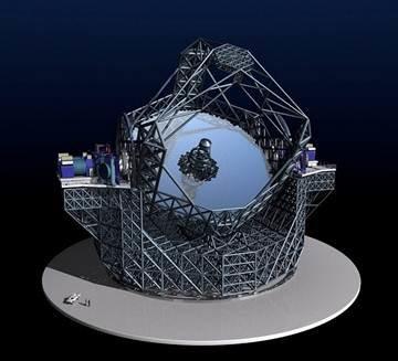 En la foto de cabecera podemos ver las instalaciones del observatorio de Cerro Paranal. Sobre estas líneas, una representación de lo que sería la estructura del E-ELT. Nótese el increíble tamaño de la construcción comparada con un automóvil. El telescopio equipará un espejo de 42 metros de diámetro y tendrá una altura de más de 80 metros.