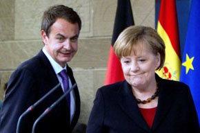 La canciller alemana, Angela Merkel y el presidente del gobierno, José Luis Rodríguez Zapatero
