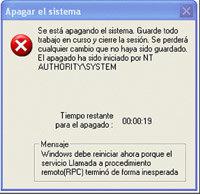 El virus Blaster hacía que el ordenador se reiniciara sin motivo.