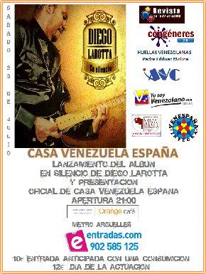 Venezolano Diego Larotta lanza su disco y se presenta oficialmente Casa Venezuela España