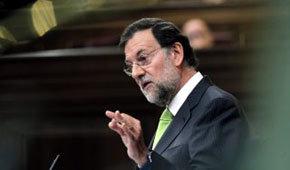 El líder del PP, Mariano Rajoy, durante su intervención en el pleno extraordinario del Congreso.
