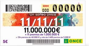 El sorteo de la ONCE del 11-11-11 deja 44 millones en toda España