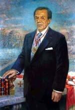 José María Carnero pinta el retrato del académico de la Hispanidad, Manuel Muñoz Hidalgo