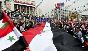 Partidarios del presidente sirio en una manifestación de apoyo a su gobierno