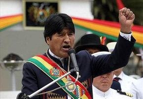 El presidente boliviano Evo Morales durante el anuncio de expropiación este 1º de Mayo