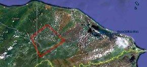 Imagen de satélite sin fechar en la que se muestra la posible ubicación de la Ciudad Blanca