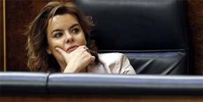 La vicepresidenta del Gobierno, Soraya S�enz de Santamar�a, en el Congreso