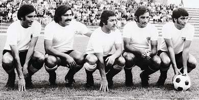 La histórica delantera de Colo Colo 1973: Sergio Ahumada, Sergio Messen, Carlos Caszely, Elson Beiruth y Fernando Osorio.