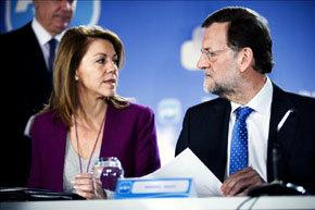El presidente del Gobierno, Mariano Rajoy y la secretaria general del PP y presidenta de Castilla-La Mancha, María Dolores de Cospedal.