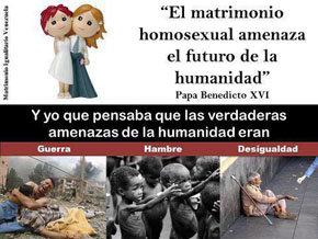 """""""El Papa advierte: el matrimonio gay amenaza la Humanidad"""""""