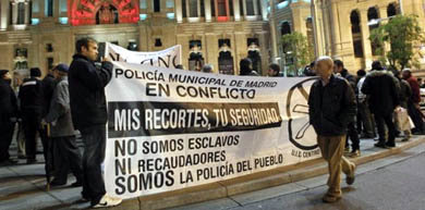 Protesta de la policía municipal de Madrid el pasado mes de diciembre/ EFE