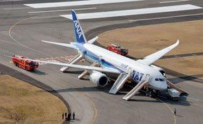 El Boeing 787 Dreamliner; de ANA, tras el aterrizaje de emergencia en Takamatsu.