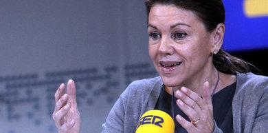 La secretaria general del PP, María Dolores de Cospedal, durante una entrevista hoy en la cadena Ser