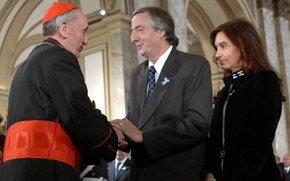 Jorge Mario Bergoglio y los esposos Néstor Kirchner y Cristina Fernández en el Te Deum del 2006.