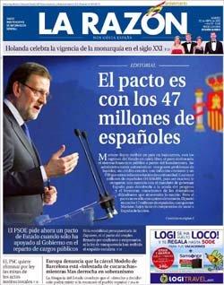 Portada de La Razón del martes, 30 de abril en defensa de Rajoy