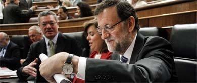 Mariano Rajoy, Soraya Sáenz de Santamaría y Alberto Ruiz Gallardón. (EFE)