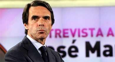El expresidente del Gobierno José María Aznar, momentos antes de la entrevista. (EFE)