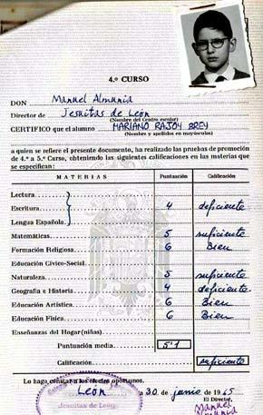 Las notas escolares de Mariano Rajoy en 4º curso