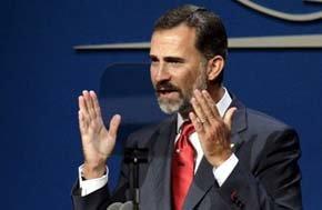 El Príncipe de Asturias, durante su intervención en la presentación de la candidatura de Madrid 2020. (EFE)