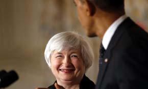 La candidata oficial para ser la próxima presidenta de la Fed, Janet Yellen, y el presidente de Estados Unidos, Barack Obama. (REUTERS)