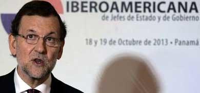 Rajoy durante la rueda de prensa en la Cumbre Iberoamericana de Panamá