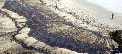 Imagen de una de las playas afectadas por el vertido del Prestige (REUTERS)