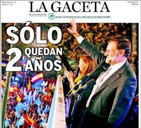 """Aplastante portada de 'La Gaceta' en el aniversario de la victoria de Rajoy: """"Sólo quedan dos años"""""""