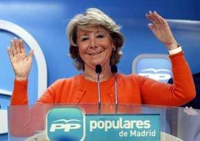 La presidenta del PP madrileño Esperanza Aguirre