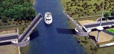 Recreación del puente Cau Cau en Valdivia