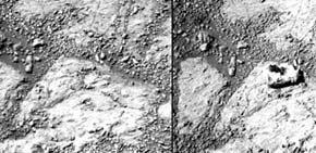 Imágenes contrapuestas del lugar donde el rover Opportunity ha hallado una roca NASA