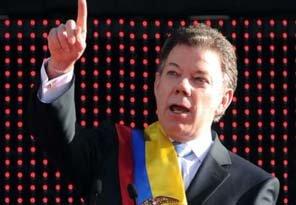 El presidente colombiano Juan Manuel Santos durante el anuncio del comienzo del proceso de paz con las FARC