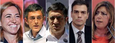 Carme Chacón, Eduardo Madina, Patxi López, Pedro Sánchez y Susana Díaz, posibles candidatos a las primarias del PSOE Archivo