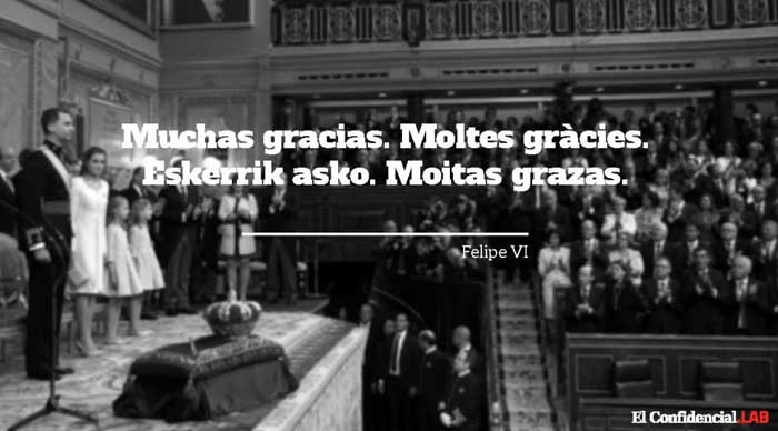 """Felipe VI proclama ante Mas y Urkullu: """"En esta España cabemos todos"""""""