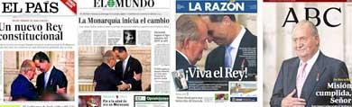 La prensa española se rinde a la monarquía española elogiando hasta la extenuación a Juan Carlos I y Felipe VI
