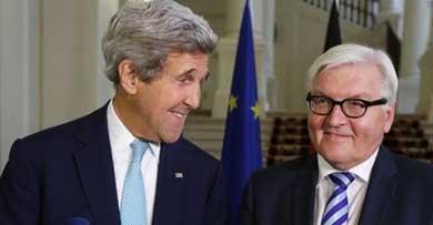 El secretario de estado de EEUU, John Kerry, y el ministro germano de Asuntos Exteriores, Frank-WalterSteinmeier, en Viena