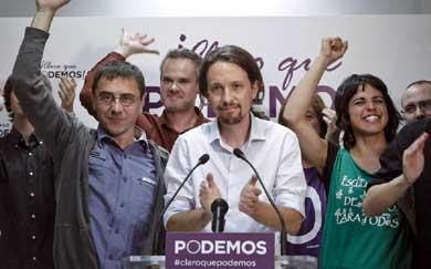 Podemos celebra los cinco escaños que consiguieron en las elecciones europeas. (EFE)