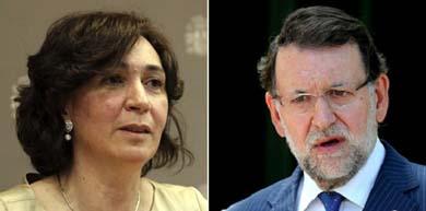La directora general de Salud Pública, Mercedes Vinuesa, y el presidente de Gobierno, Mariano Rajoy