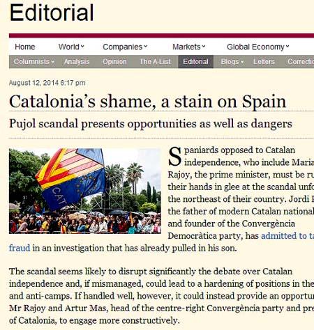 """Bofetón del 'Financial Times' por el Caso Pujol: """"La vergüenza de Cataluña"""""""