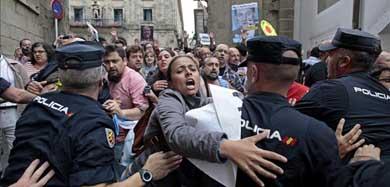 Carga policial en Santiago: herido de un porrazo en la cabeza el portavoz del BNG