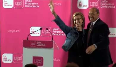 José Caballero y Rosa Díez en un acto electoral en mayo de 2011 en Alcobendas. Captura de Youtube