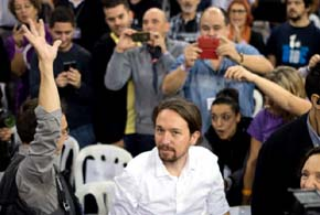 Pablo Iglesias durante el arranque de la asamblea ciudadana de Podemos celebrada el pasado fin de semana en el Palacio Vistalegre. (Daniel Muñoz)