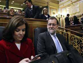 Rajoy, con S�enz de Santamar�a, en la constituci�n del Congreso.