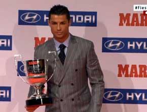 Cristiano recogi� el trofeo  Pichichi de la p�sada temporada (Marca)