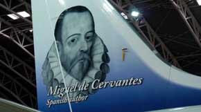Norwegian decora la cola de un avi�n con la figura de Cervantes