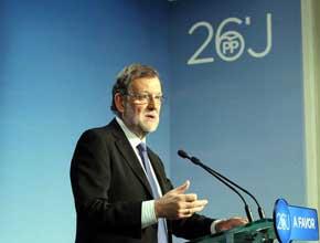 Rajoy, este lunes, tras la reuni�n con su Ejecutiva.
