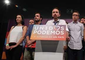 Los dirigentes de Unidos Podemos, la noche electoral. MADRID | EUROPA PRESS