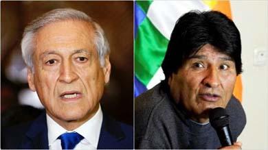 Heraldo Mu�oz, canciller de Chile y Evo Morales, presidente de Bolivia.