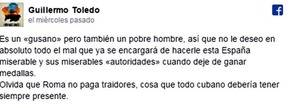 Facebook cierra la cuenta de Willy Toledo por llamar gusano a Orlando Ortega